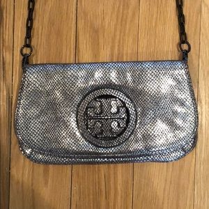 EUC Tory Burch Silver Clutch Removable Chain Strap